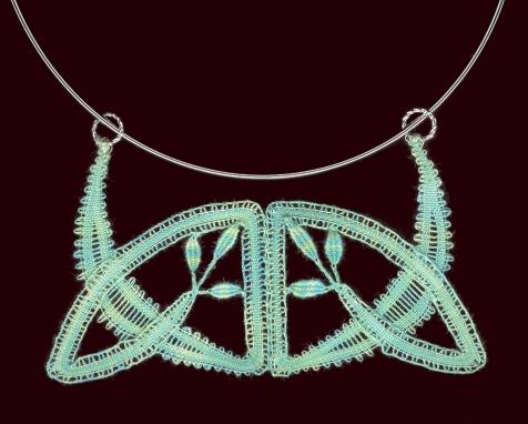 Art Nouveau Pendant 2005 Designed for an I.O.L.I. convention pattern book Tape lace