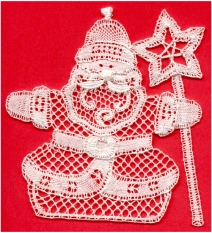 Country Santa with Star Published by The Lace Guild for a Christmas card Tape lace with fillings