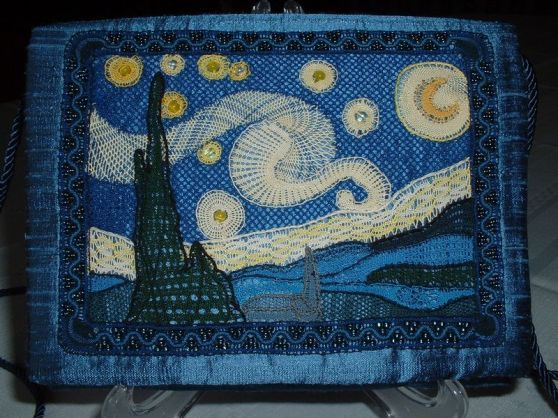 "Starry Night Evening Purse 2007, Designed for the I.O.L.I. competition ""Lace Heaven"" in Tulsa, Oklahoma"
